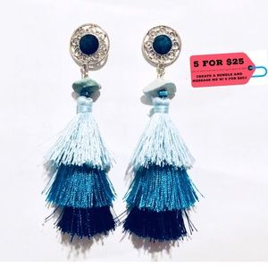 NWT Long Blue Tassel Earrings w/ Green Agate